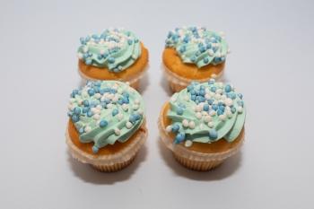 Cupcake blauw + print