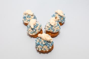 Opgespoten koekje blauw + print